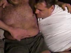 Furious fat daddies invading tight ass holes in fervent threesome