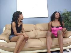Punk ebony chick give each other pleasure through toys