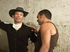 Latino hunk cowboys give blowjobs before ass pounding