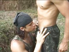 Devilish latino military studs furious anal pumping under the sun