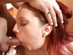 Big boobed redhead sucking and fucking hard