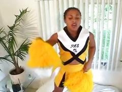 Ebony cheerleader fucked hard by black dude