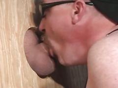 Perverted pig daddy opens spunk hungry mouth for glory hole fuck