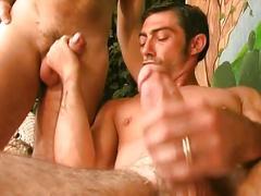 Max costello, luca pollini, giorgio valli:threesome cock fencing