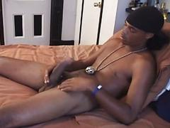 Horny twinky black dude strips and jerks massive cock in hot solo