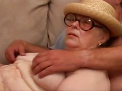 Great granny gangbang by six young cocks