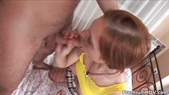 Naughty redhead teen edith gets facialized