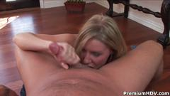 Blonde milf allison pierce blows up meaty man stick in pov