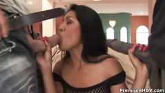 Asian whore lyla lei fucks 2 guys