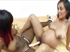 Pregnant brunette takes a secret lesbian lover