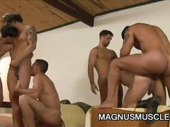 Spunk loving perverted muscled latino studs group anal whacking