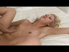 Blonde babe takes cock deep in mouth and pussy