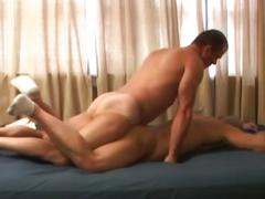 Filthy spunk eating amateur muscled gay studs ass stretching