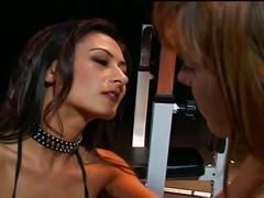 Hot lesbian sex in fitness club