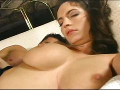 Horny brunette fucked hard on her trimmed wet pussy