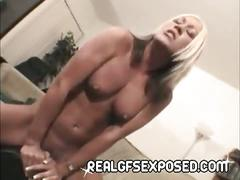 Drunk and stupid trollop strips, fingers and masturbates on her bed