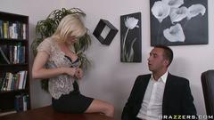 Blonde milf fucks in office