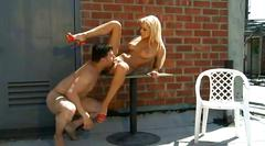 Stunning blonde babe breanne benson fucks outdoor