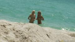 Blonde beach brats get fucked