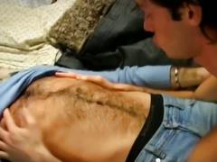 Horny hairy twink fucking young stud to pay for his rent