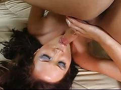 babe, big dick, brunette, creampie, hardcore, anal creampie, beauty, big cock, black hair, chick, cutie, doggy style, glamour, missionary, pussy creampie, rough fuck