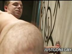 Straight stud gets glory hole blowjob from cum horny gay