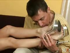 Sexy lulu loves strocking cock with her feet