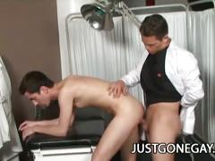Intense doctor-patient gay fuck scene