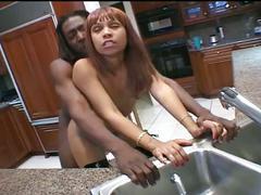 Ebony redhead gets hardcore fucking from black cock