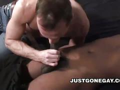 Horny dilf shows love to big black cock