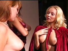 Blonde mistress gets her way with two brunette lesbians