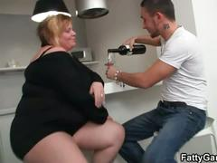 Huge titted fatty is banged on the floor
