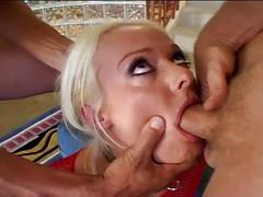 Blonde puts big dildo in ass before fucking two cocks