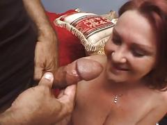 Old busty brunette gets a hard cock up her old pussy