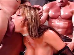 Busty latina in hardcore threesome gets fucked hard