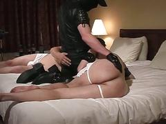 Master spanks and fucks his two slaves and makes them suck his cock