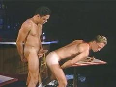 Hot muscled drunk hunks fucking hard on table in the bar