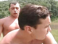 Hot muscled gay hunks fucking tight asses outdoors for fun