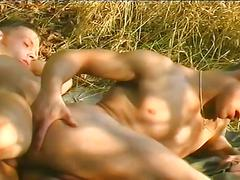 Super hot muscled gay studs hardcore anal pumping outdoors
