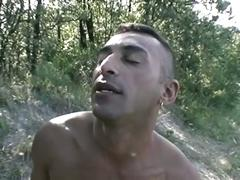 Super horny muscled gay studs fucking hardcore in the woods