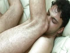 Hairy gay takes a cock to his mouth and ass