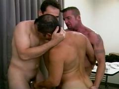 Horny muscled gay daddies sizzling hot threesome fucking