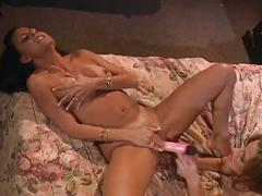 Alluring brunette lesbians amazing pussy playing