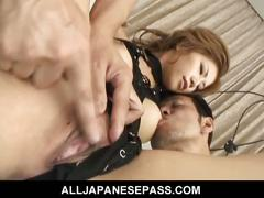 Japanese babe takes on two dicks