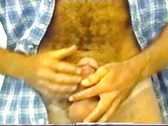 Super horny hairy muscled bear jerking his monster boner