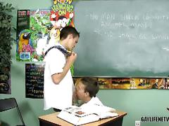 Twink gets spanked with ruler and fucked in detention