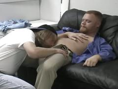 Filthy cum eating gay daddies super hot threesome anal wrecking