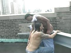 Monster black cock fuckers naughty encounter in roof top