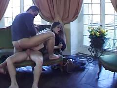 Huge boners getting served by two slutty brunettes