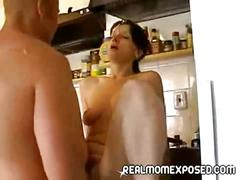 blowjob, brunette, milf, brown hair, mom, sloppy blowjob